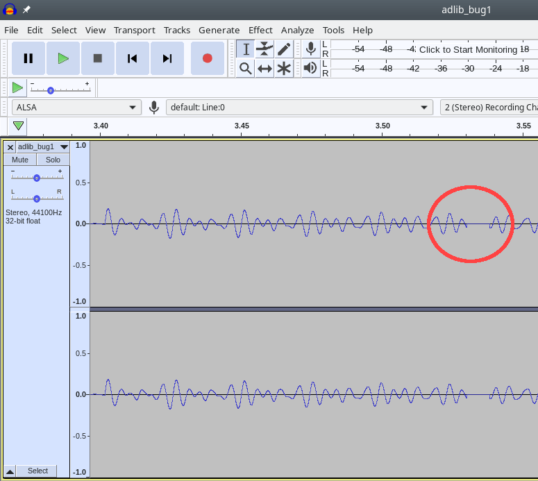 Audacity view of Qemu bug waveform